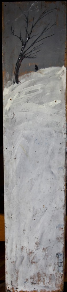 Winter Tree, 153 cm x 32 cm, oil on wood