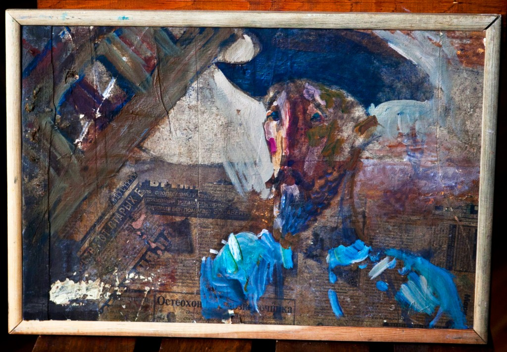 Don Quixote, 2007, 35 cm x 52 cm, newspaper, wood, oil, SOLD